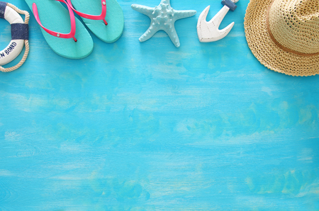 Tropical vacation and summer travel image with sea life style objects. Top view