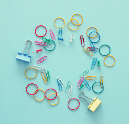 Top view of school and office supply Stock Photo