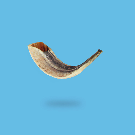 Minimal concept of Rosh hashanah horn (jewish New Year holiday). Traditional symbol Stock Photo