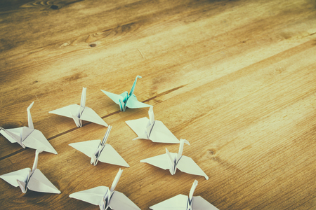 Leadership concept with paper birds on wooden background. One leader leads others . Filtered and toned image