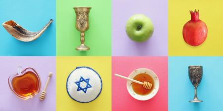 Rosh hashanah (jewish New Year holiday) collage concept. Traditional symbols