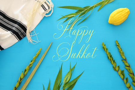 Jewish festival of Sukkot. Traditional symbols (The four species): Etrog, lulav, hadas, arava Stock Photo - 105036442