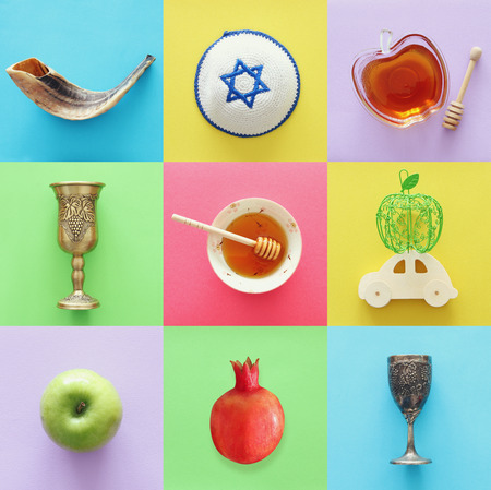 Rosh hashanah (jewish New Year holiday) collage concept. Traditional symbols