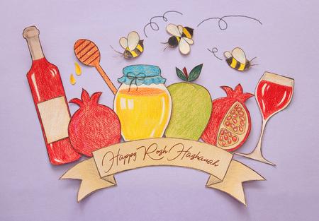 Rosch Haschana-Konzept (jüdischer Neujahrsfeiertag). Traditionelle Symbolformen aus Papier geschnitten und bemalt Standard-Bild