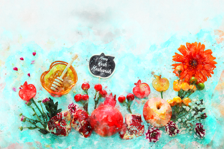 watercolor style and abstract image of Rosh hashanah (jewish New Year holiday) concept. Traditional symbols