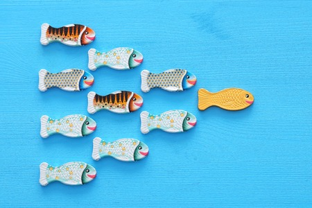Leadership concept with swimming fish on wooden background. One leader leads others Stock fotó