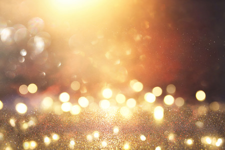 glitter vintage lights background. silver, black and gold. de-focused Reklamní fotografie