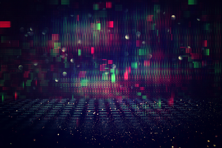 Futuristic retro background of the 80`s retro style. Digital or Cyber Surface. neon lights and geometric pattern Imagens - 106968858