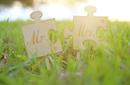 Mr and Mrs sign. Two puzzle pieces placed in the grass during sunset time. harmony and wedding concept