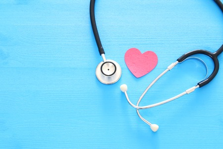Image of heart and stethoscope. Medical concept Stock Photo