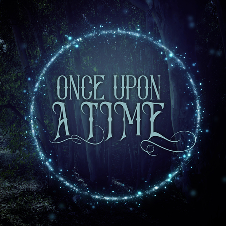mysterious fairy tale background of dark and haunted forest and magical lights with text