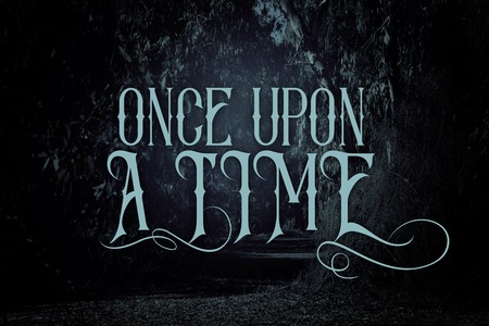 mysterious fairy tale background of dark and haunted forest with text