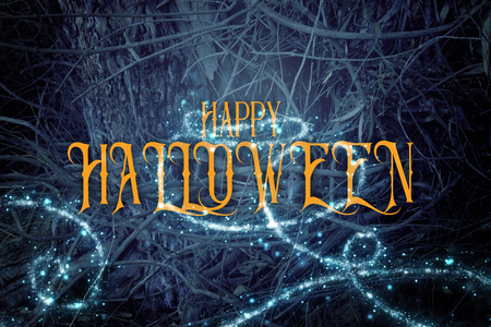 Halloween mysterious background of dark and haunted forest with text Stock Photo