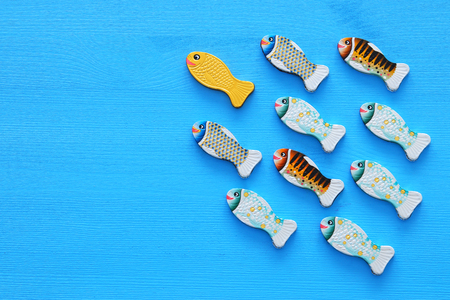 Leadership concept with swimming fish on wooden background. One leader leads others Stockfoto