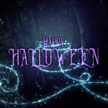 Halloween mysterious background of dark and haunted forest with text Banque d'images