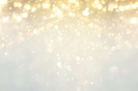 glitter vintage lights background. silver, gold and white. de-focused Stockfoto