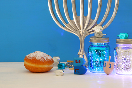 Image of Jewish holiday Hanukkah background with menorah (traditional candelabra) Stock Photo