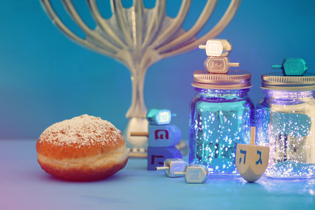 Image of Jewish holiday Hanukkah background with menorah (traditional candelabra) Zdjęcie Seryjne