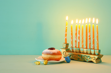 Image of Jewish holiday Hanukkah background with menorah (traditional candelabra) 版權商用圖片