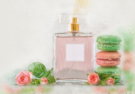 Watercolor style and abstract illustration of vintage perfume bottle and french macaroon cookie