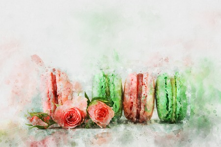 Watercolor style and abstract illustration of romantic colorful macaron or macaroon over pastel background Stock Photo