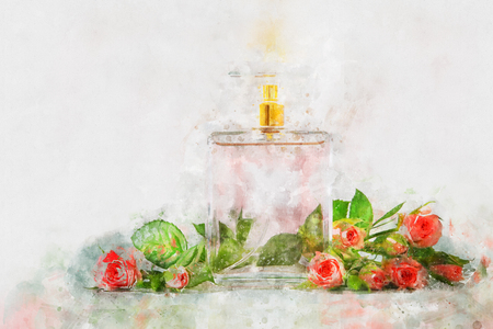 Watercolor style and abstract illustration of vintage perfume bottle