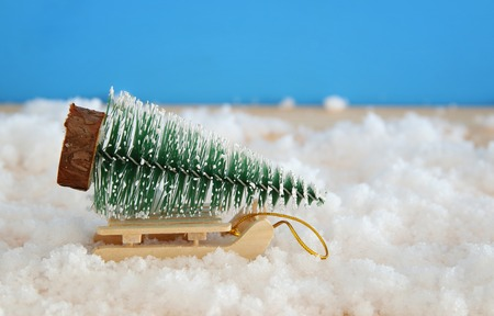 Image of christmas tree on wooden sled over snowy wooden table