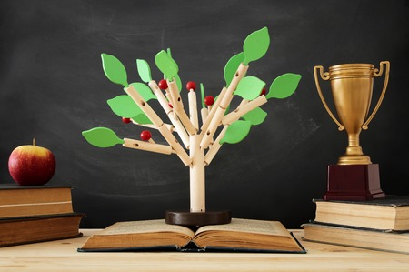 Open book and wooden tree puzzle over blackboard background. Education and knowledge concept