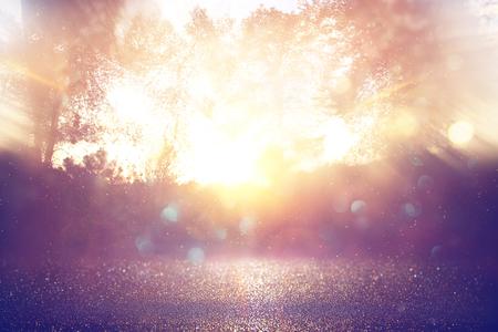 blurred abstract photo of light burst among trees and glitter golden bokeh lights Stock Photo