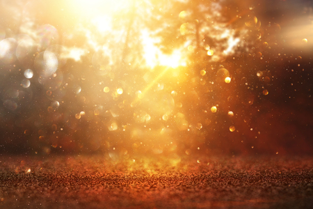 blurred abstract photo of light burst among trees and glitter golden bokeh lights Stock Photo