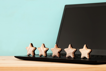 concept photo of setting a five star goal. increase rating or ranking, evaluation and classification idea Stock Photo