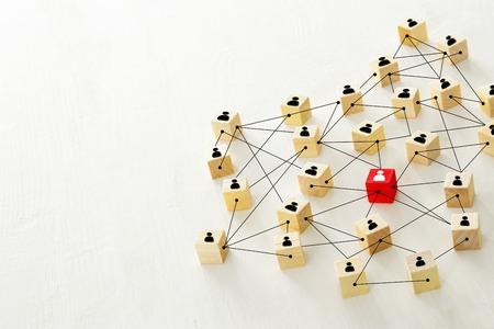 Foto astratta del concetto di connettività, collegamento di entità, gerarchia e risorse umane