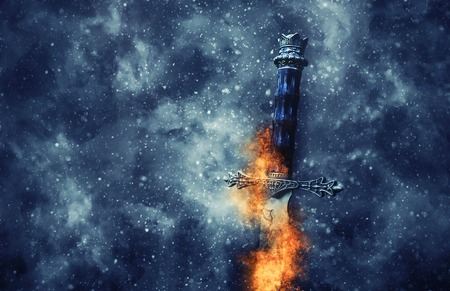Mysterious and magical photo of silver sword with fire flames over gothic snowy black background. Medieval period concept Stock Photo - 115062535