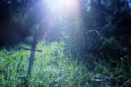 mysterious and magical photo of silver sword over England woods or field landscape with light flare. Medieval period concept.