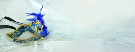 Banner of elegant and delicate silver and blue venetian mask over mint chiffon background