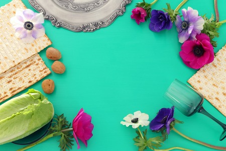 Pesah celebration concept (Jewish Passover holiday). Top view, Flat lay Stock Photo