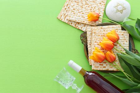 Pesah celebration concept (Jewish Passover holiday). Top view, flat lay Stockfoto