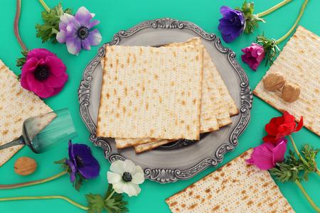 Pesah celebration concept (Jewish Passover holiday). Top view, Flat lay