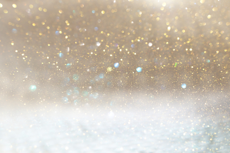 Photo gold and silver glitter lights background