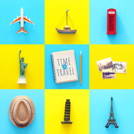 Travel collage concept with world symbols and icons. Top view