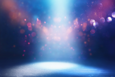 Abstract dark concentrate floor scene with mist or fog, spotlight, glitter light bokeh for display