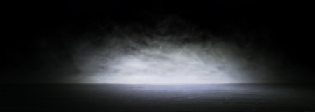 Abstract dark concentrate floor scene with mist or fog, spotlight for display. Banner
