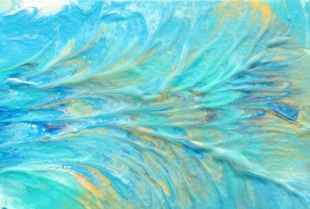 photography of abstract marbleized effect background. Blue, mint, gold and white creative colors. Beautiful paint