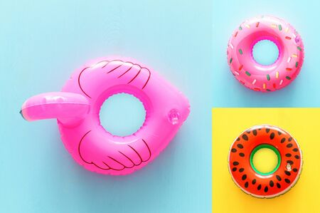 collage of Inflatable rings over yellow and blue wooden background