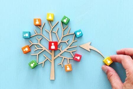 Bedrijfsbeeld van houten boom met mensenpictogrammen over blauwe lijst, human resources en managementconcept Stockfoto
