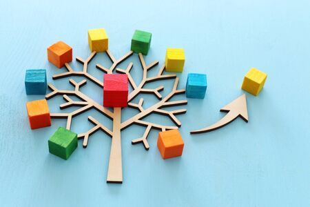 Business image of wooden tree with colorful cubes over blue table, human resources and management concept Stock Photo