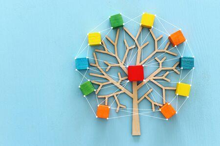 Biznesowy wizerunek drewnianego drzewa z kolorowymi kostkami nad niebieskim stołem, zasobami ludzkimi i koncepcją zarządzania