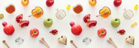religion image of Rosh hashanah (jewish New Year holiday) concept. Traditional symbols Stok Fotoğraf