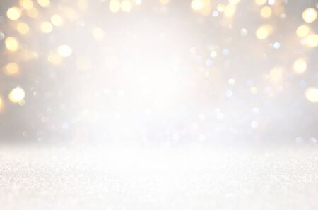 blackground of abstract glitter lights. silver and gold. de-focused Stock Photo - 128865969