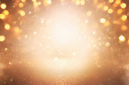 background of abstract glitter lights. silver and gold. de-focused Stock Photo - 128866069